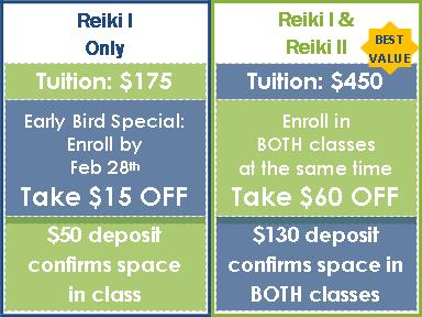 Early Bird Special:  Enroll in Reiki I by Feb 28th & Take $15 OFF OR Enroll in BOTH Reiki I and Reiki II at the same time & Take $60 OFF